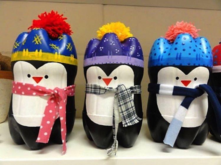 Поделки из пластиковых бутылок пингвин
