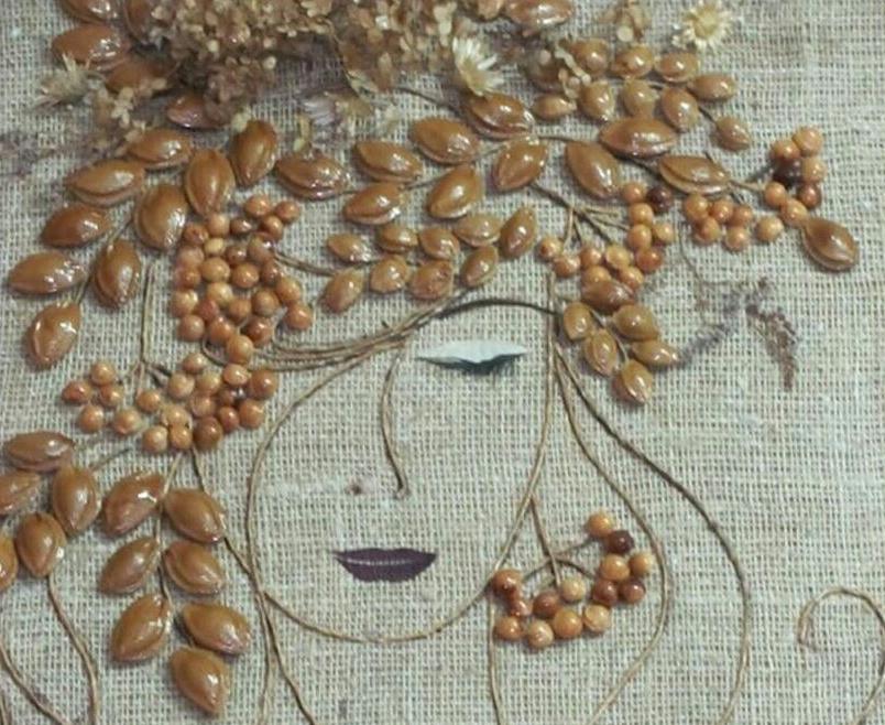 Поделки из тыквенных семечек лицо