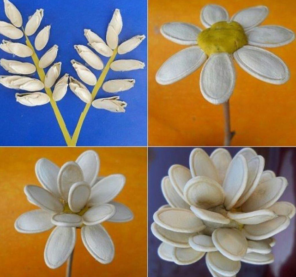 Поделки из тыквенных семечек цветы для детей