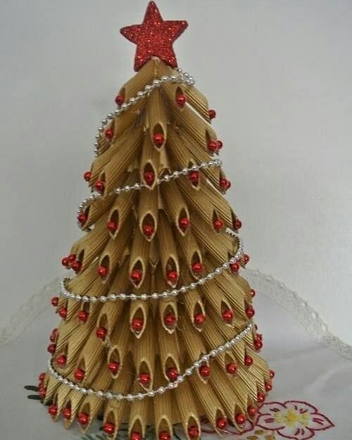 Новые идеи поделок в садик и школу новогодняя елка из макарон