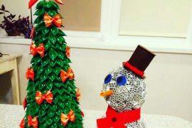 Новые идеи поделок в детский садик и школу новогодняя зеленая елочка из макарон