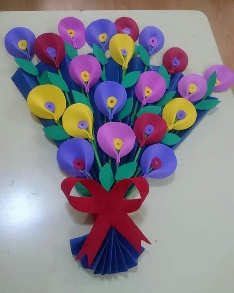 Открытки на 8 марта цветы из цветной бумаги