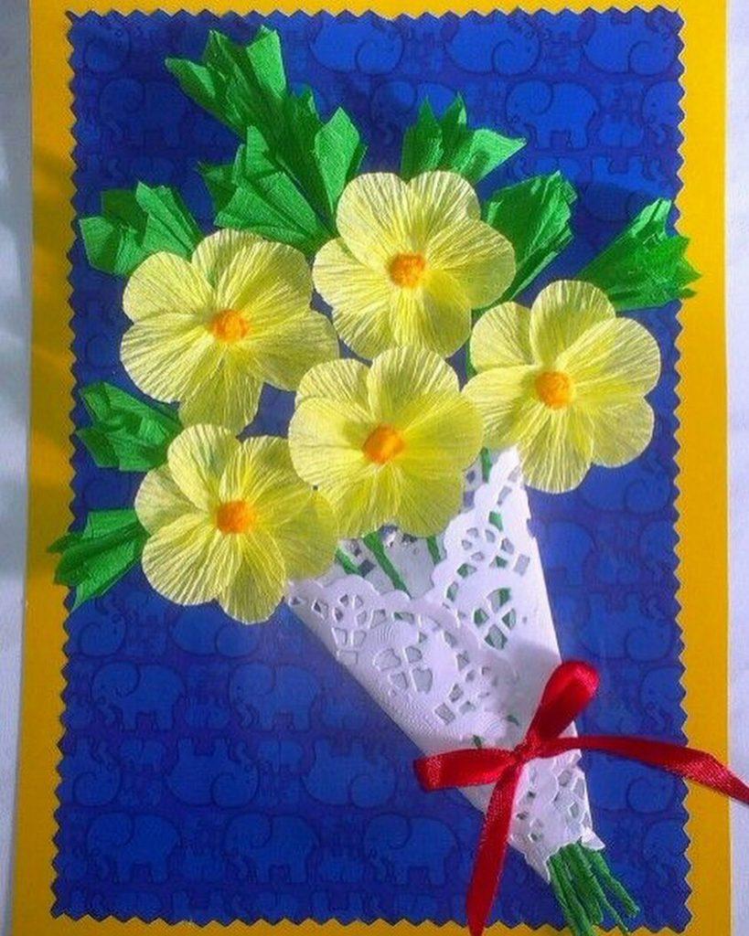 Открытки на 8 марта цветы из гофрированной бумаги