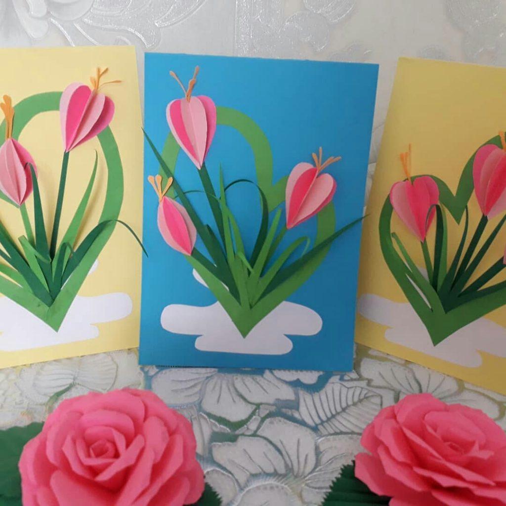 Открытки на 8 марта тюльпаны