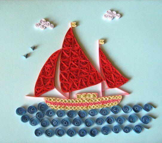 Открытка на 23 февраля в технике квиллинг кораблик