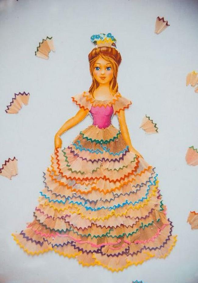 Аппликации принцесса из карандашной стружки для детей