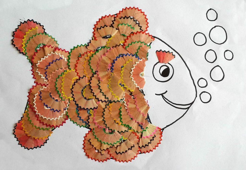 Аппликации рыбка из карандашной стружки для детей