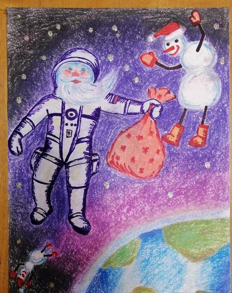 Рисунок Дед Мороз в космосе в скафандре