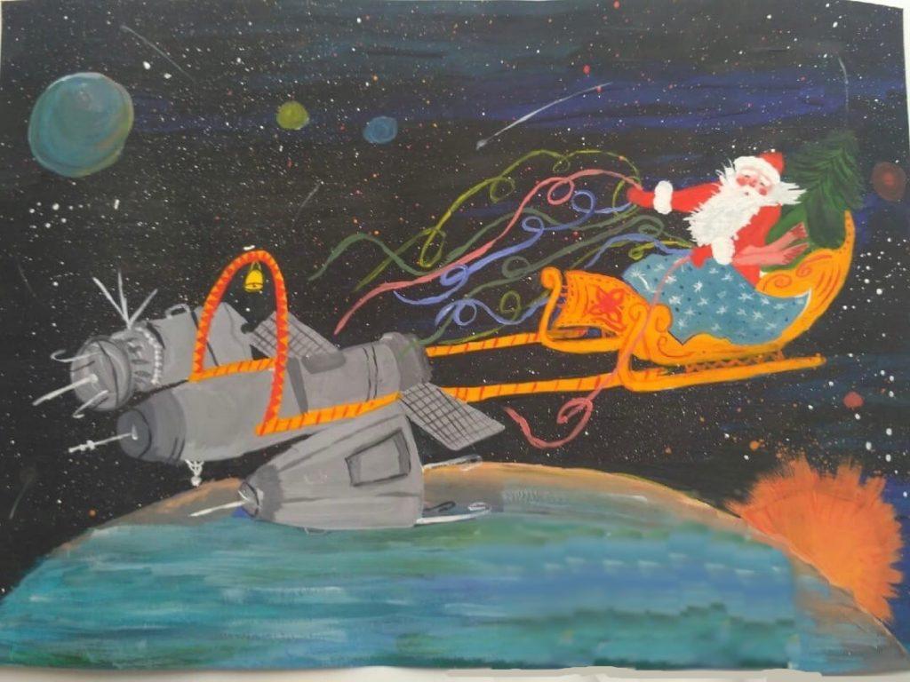 Рисунок Дед Мороз в космосе