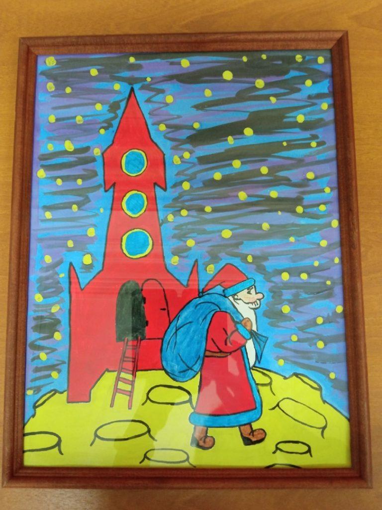 Рисунок Дед Мороз и ракета