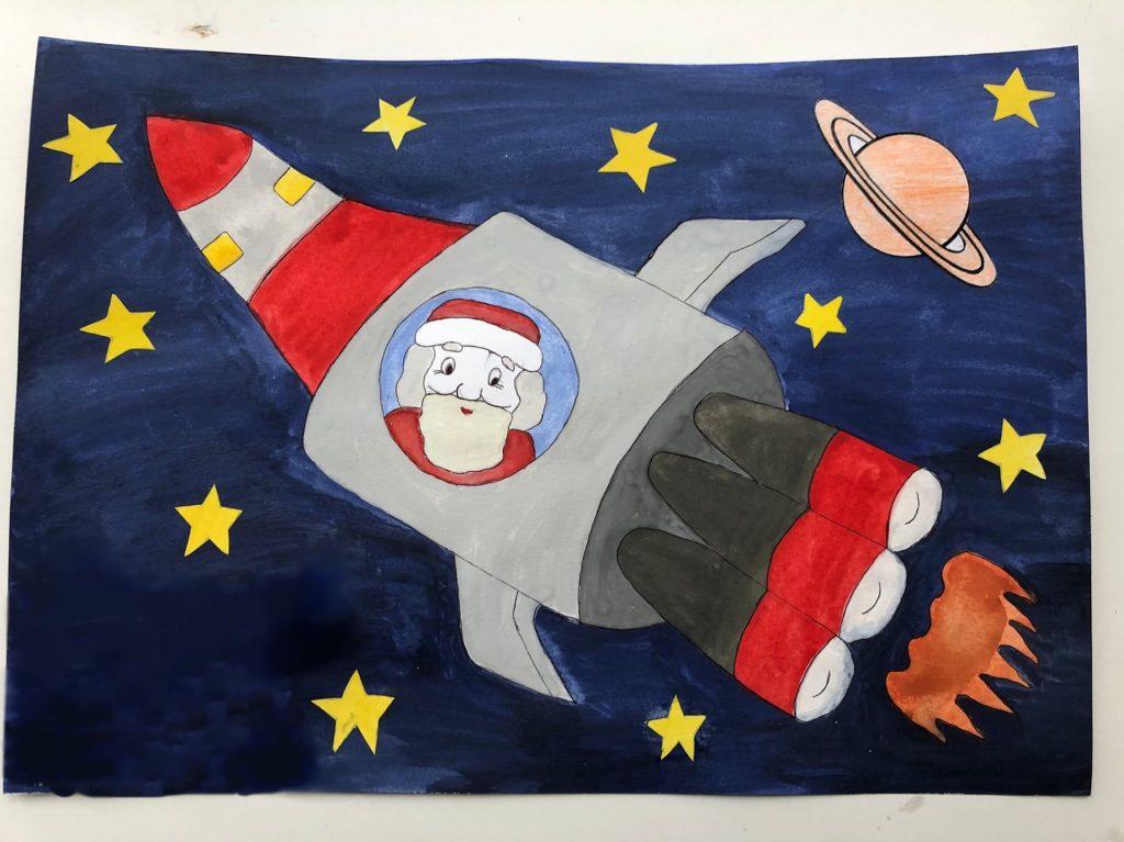Конкурс детских рисунков Дед мороз в ракете в космосе