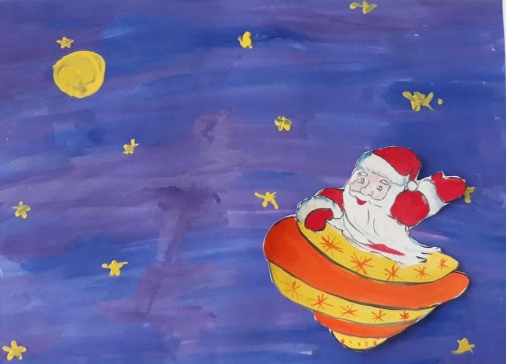 Рисунок детский Дед Мороз и Космос