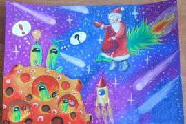 Конкурс рисунков Новый год - Дед Мороз в космосе