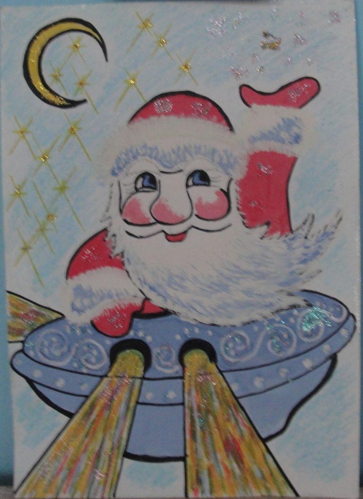Конкурс рисунков Новый год - Дед Мороз и Космос