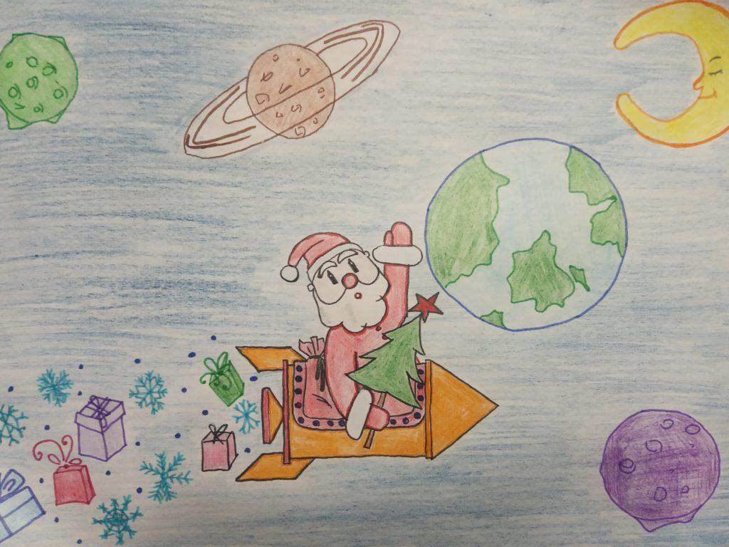 Рисунки на конкурс Дед Мороз и Космос